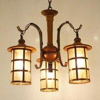 Китайский стиль деревянный подвесной светильник для столовой металлические полые бутылки бар счетчик цепи подвесные лампы для ресторана