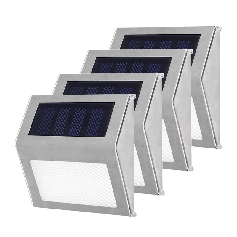 Stainless Steel 3 LED Solar Stair Lights Outdoor Courtyard Pathway Lamps Waterproof Street Garden Yard Lamp 1/2/3/4Pcs