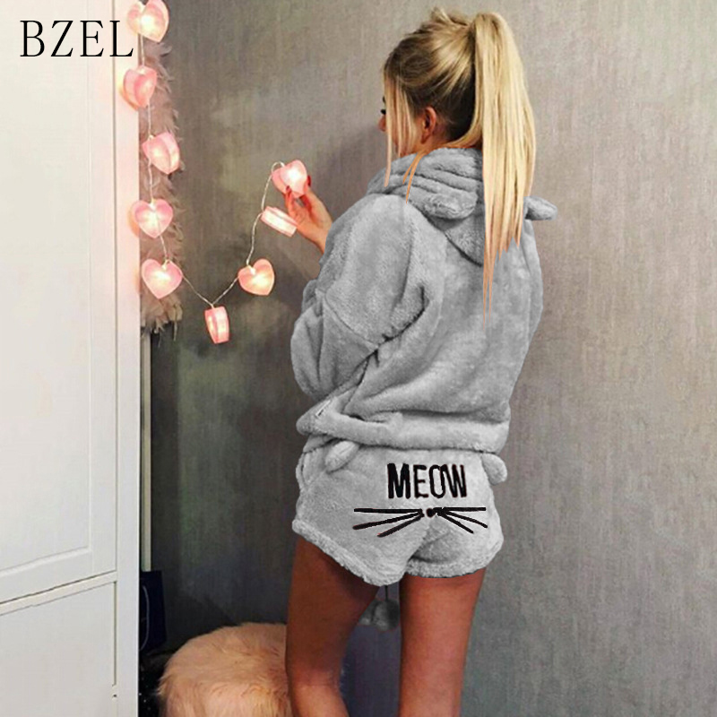 BZEL New   Pajamas     Sets   Long Sleeve Sleepwear Flannel Nightwear Cartoon Cat Sleep Lounge Hooded Pijama Mujer Casual Home Wear 3XL
