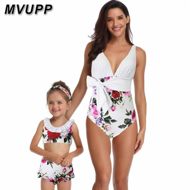 c7d6666210 mommy and me swimwear family matching outfits one piece bikini for mother  daughter swimsuit high waist