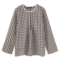 SCHMICKER Plus Size 5XL Women Casual Loose Vintage Checkered Lace Crochet Neck Tops Blouse Long Sleeve