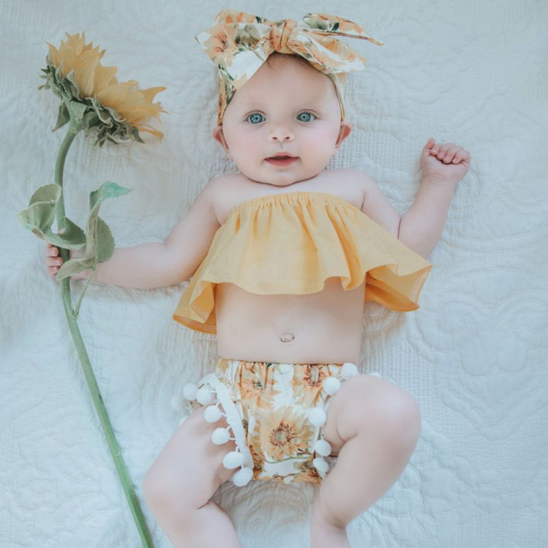 Baby Clothing Set Cute Newborn Baby Girls Yellow Tube Tops+Print Tassel Shorts +Headband Outfits Sunsuit Clothes