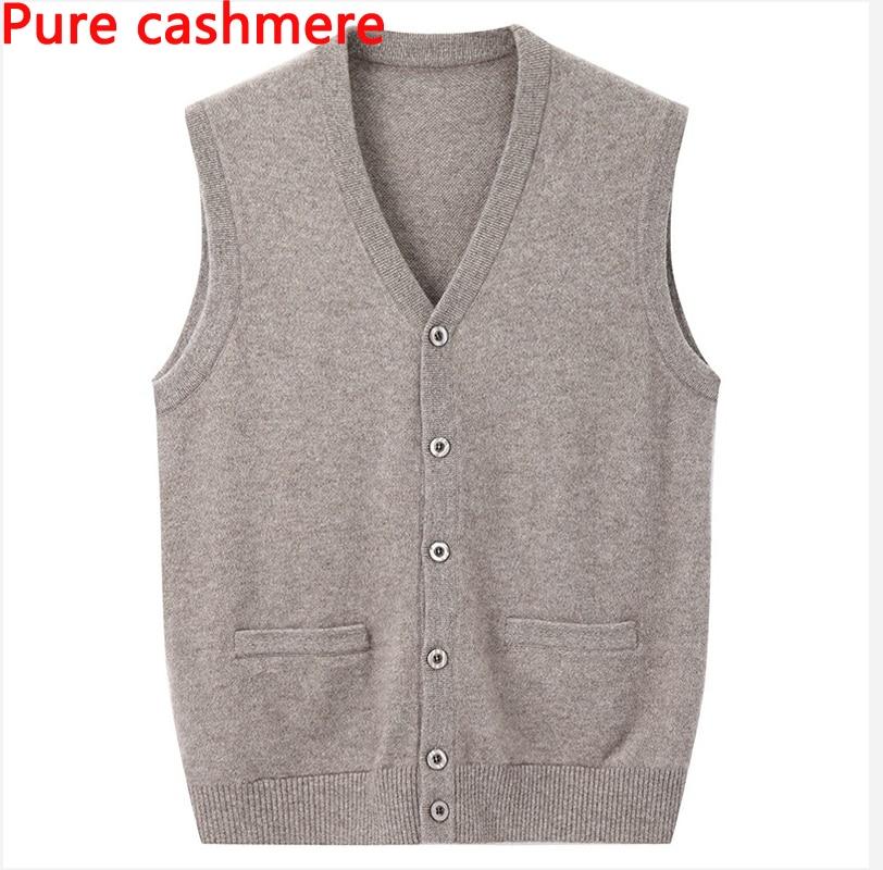 Herbst Winter Männer Hohe Qualität Reinem Kaschmir Casual V-ausschnitt Einreiher Weste Marke Dicke Warme Männliche Wolle Pullover Größe S-4xl