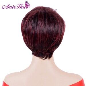 Image 2 - Прямые короткие парики Amir, синтетические волосы, высокотемпературные волосы из волокна, винно красные волосы, искусственные волосы