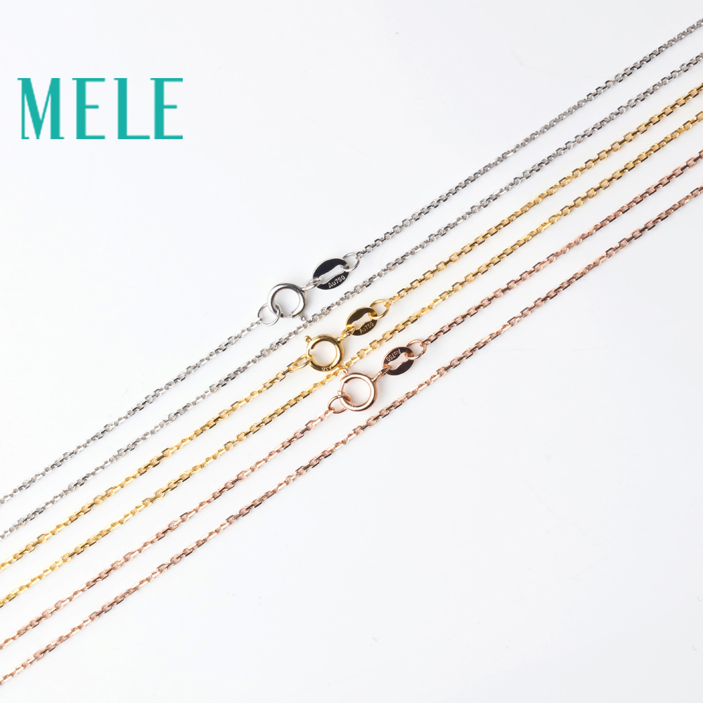 MELE 18k gold chain for pendant and necklace,Cross chain with yellow gold,white gold,rose gold DIY Jewelry accessories цена 2017