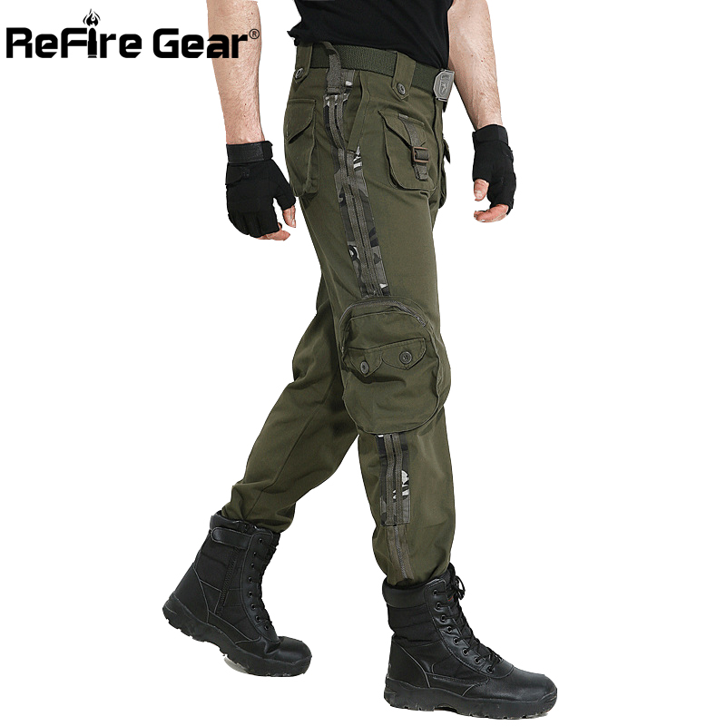 ReFire Gear Army Combat Military Cargo Pants Men SWAT Multi-Pockets Cotton Tactical Pants Air Force Airsoft Camouflage Trousers