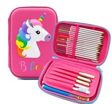Kawaii 3D Unicorn Pencil Case Zipper Large Capacity EVA Box Pencilcase Korean Bag Student Stationery School Supplies