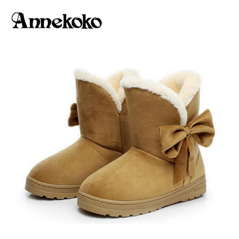 ФОТО Female Furry Snow Boots With Fur Thickened Warm Bowtie Slip-On Ankle Boots Women's Boot Hot Sell 2017 Round Toe Flat Women Shoes