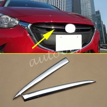 Chrome Front Grille Grill Cover Trim Molding FOR Mazda 2 Demio 2015 2016 2017 2018 DJ DL Mazda2 Hatchback Sedan Accessories(China)