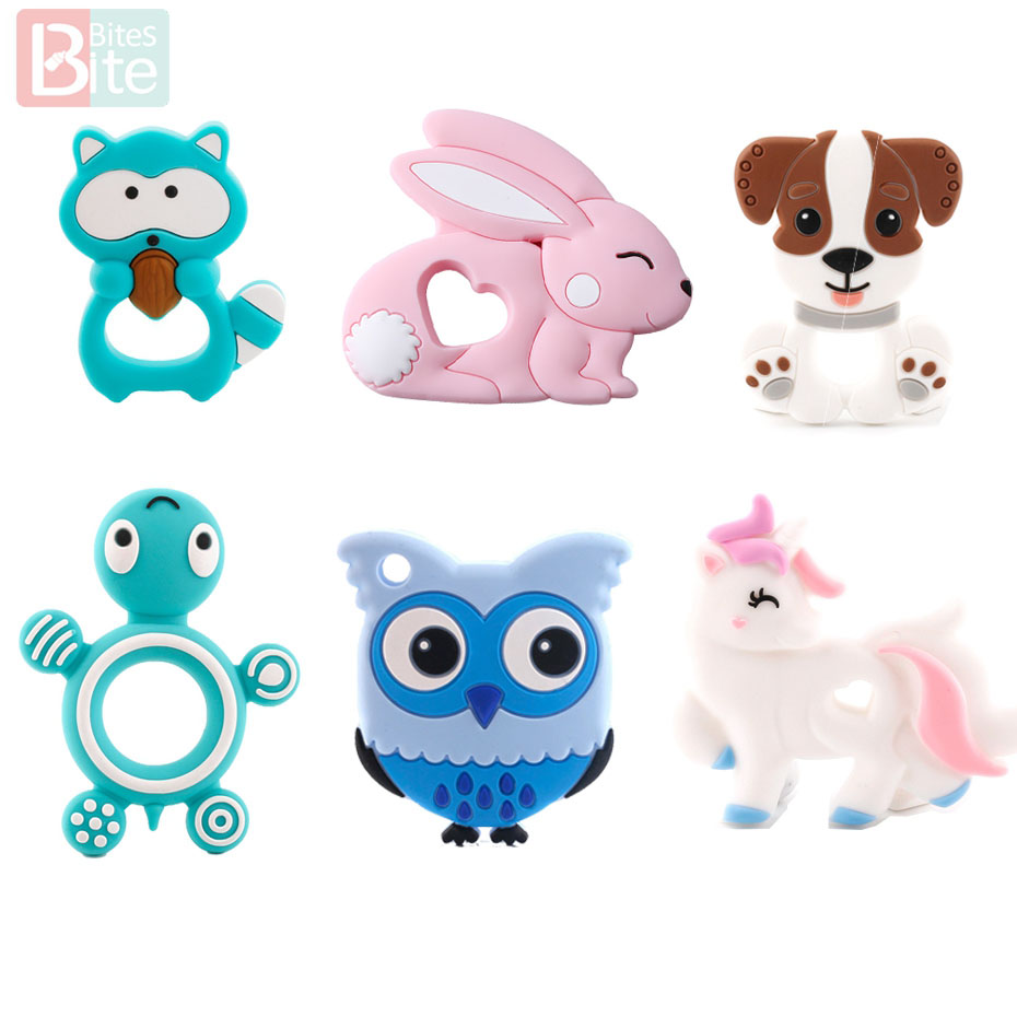 Bite Bites 1pc Silicone Teether Unicorn Food Grade Silicone Rodent Baby Chews Tiny Rod Baby Goods BPA Free Cartoon Baby Teether