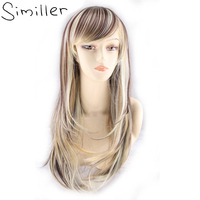Similler Highlight Cosplay Synthetic Women Hair Wig Long Straight With Hair Net Gradient Color