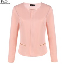 Women's Jacket Coat Women Jacket O-Neck Zipper Long Sleeve Top Base Slim Full Wide-Waisted pink short suit outwear u2