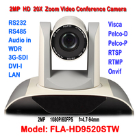 2.0Megapixel 1080P 20X Auto Zoom HD Video Camera Conference Lan IP HD SDI DVI RTSP Dual stream H.265/H.264 For Remote Training