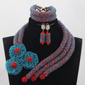 2017 Teal Blue/Red Crystal Flower Brooch Nigerian African Wedding Bridal/Women Beads Necklace Jewelry Set Free Shipping ANJ283