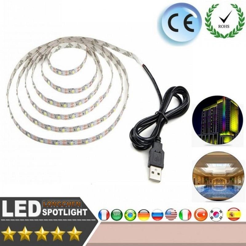 USB Strip SMD3528 Light 5V Adapter String Christmas Desk Decor Lamp Tape TV Background Lighting 50CM 1M 2M 3M 4M 5M LED Strip