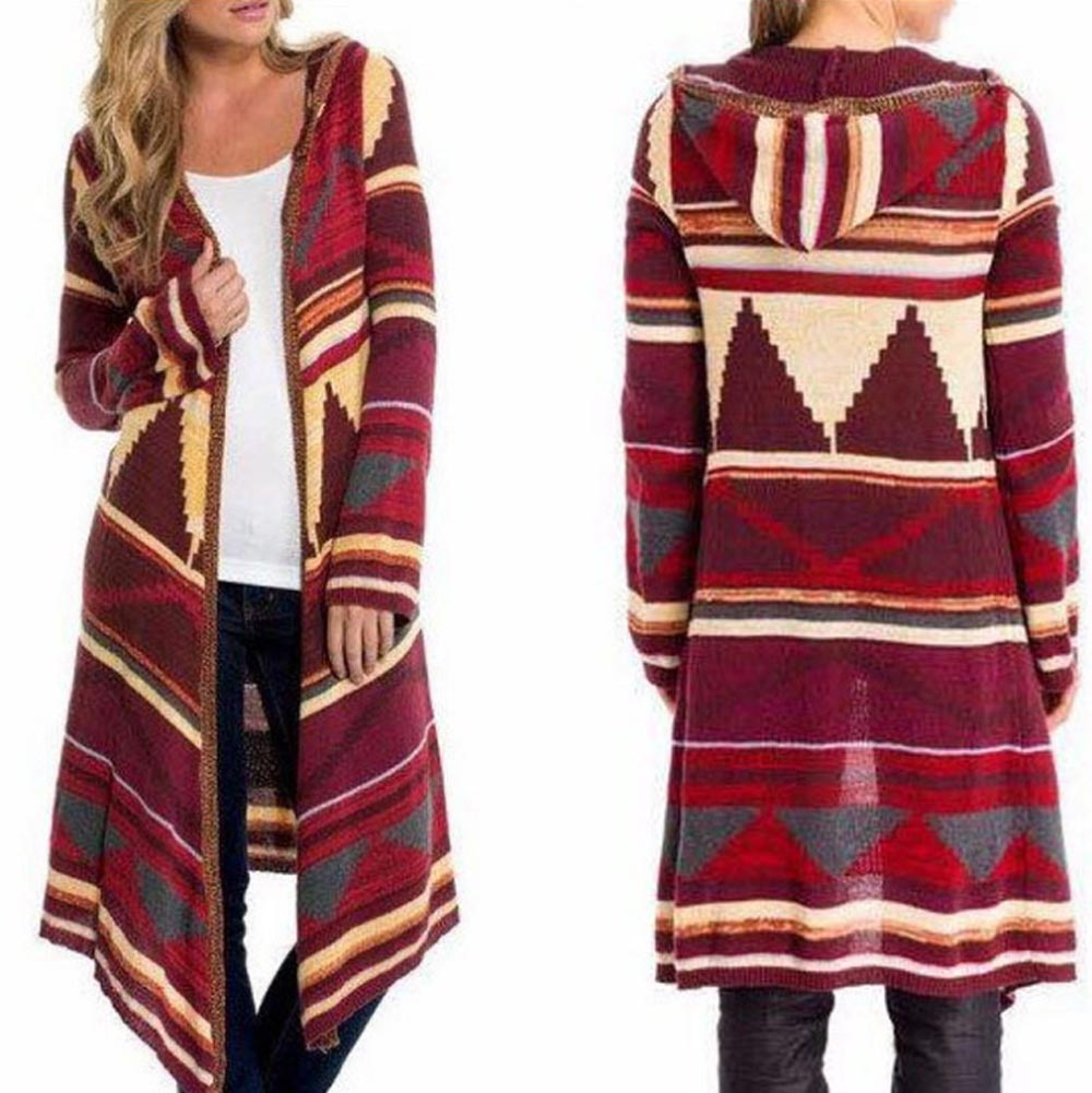 Hitmebox 2018 New Fashion Ethnic Stiped Prints Women's Open Front Thin Coat Female Hooded Knitted Long Cardigan Cloak Outwears
