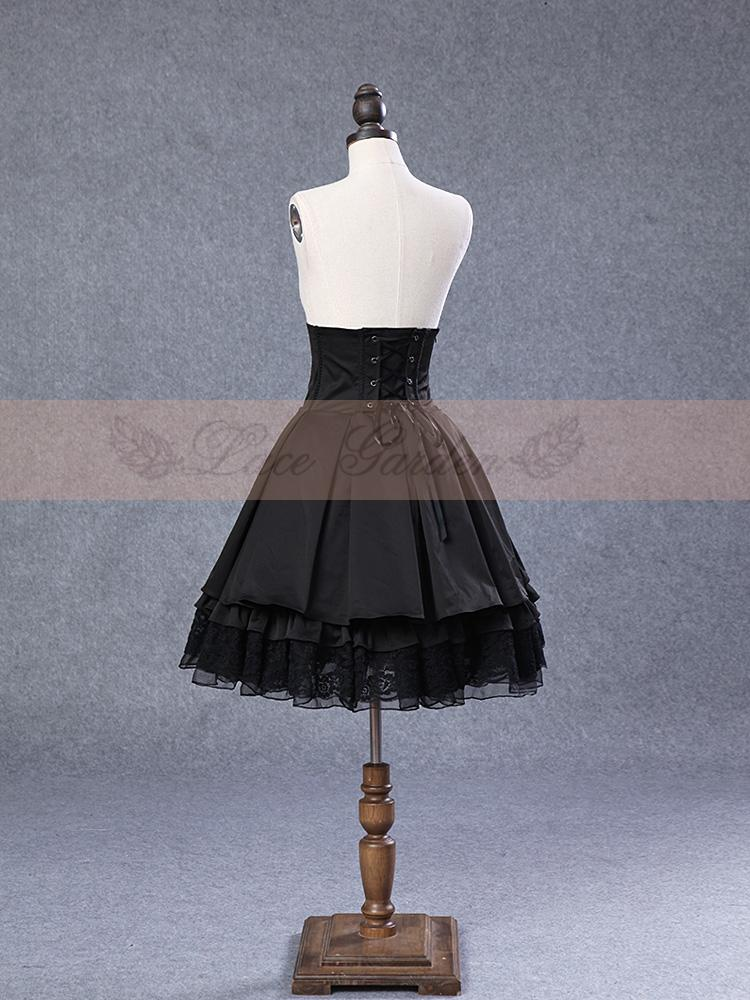 Ladies' Trendy Fashion Lace Garden Skirt with Elastic Stripes Design