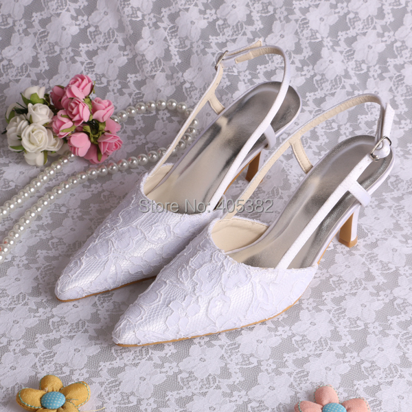 535d1ea7fd3 US $45.0  Wedopus Slingback Pointed toe Sexy Ladies Shoes White Lace Med  Heel Size 8 Dropshipping-in Women's Sandals from Shoes on Aliexpress.com    ...