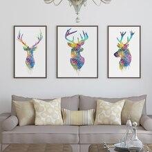 Tríptico Aquarela Original Da Cabeça Dos Cervos Animais A4 Cópia Da Arte Cartazes Imagens De Parede Sala de estar Pintura Da Lona Sem Moldura Decoração de Casa