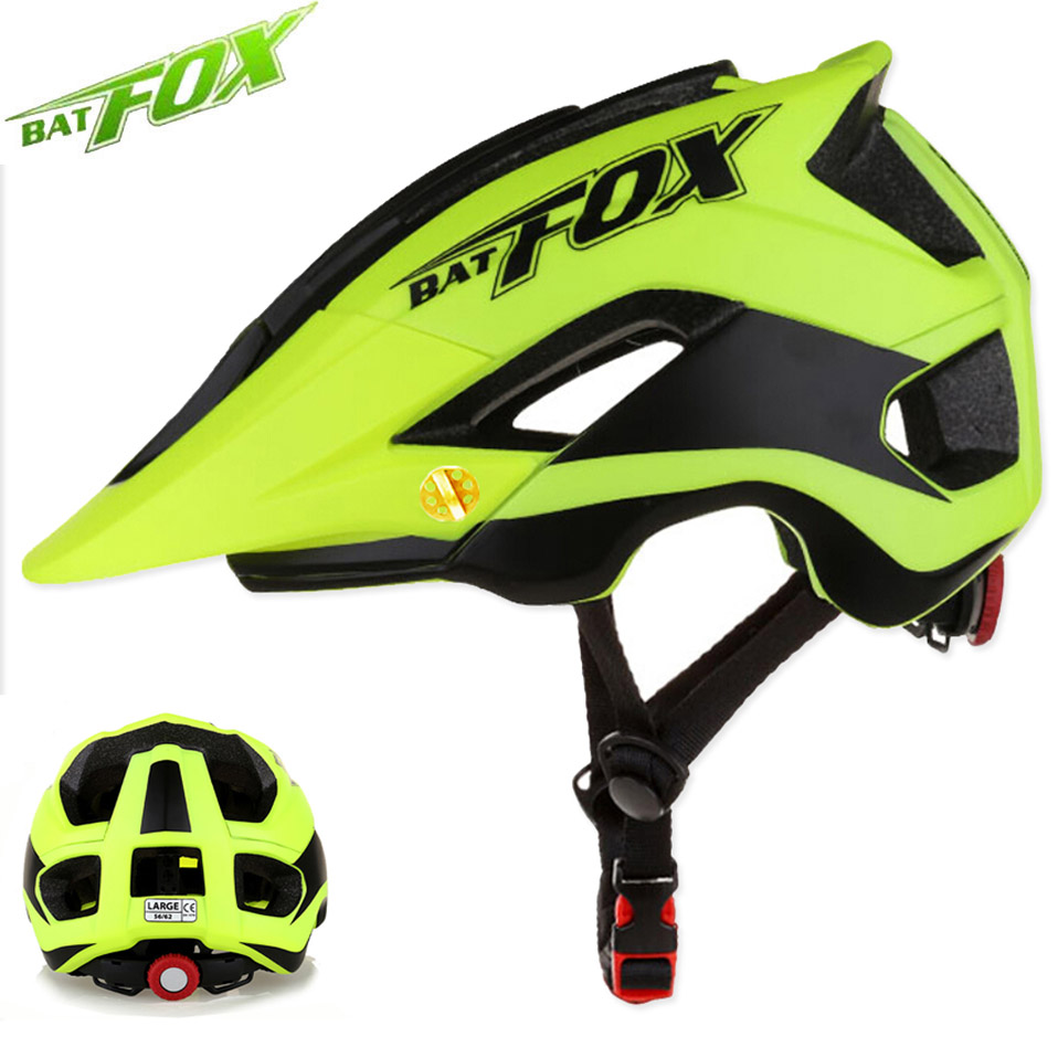 BATFOX Radfahren Helm Frauen Männer Fahrrad Helm MTB Bike Mountain Road Radfahren Sicherheit Outdoor Sport Leicht Großen Visier Helm