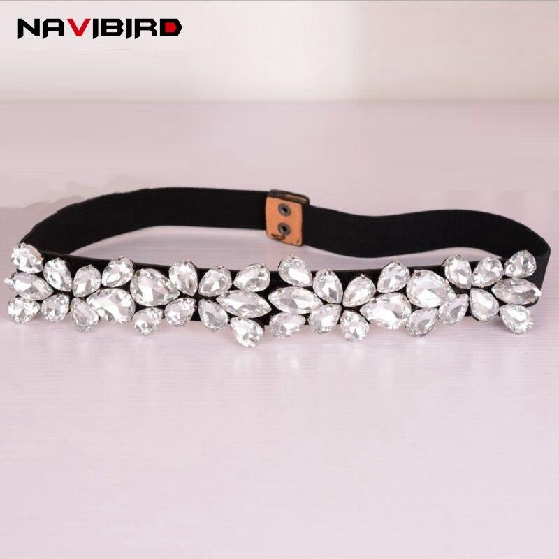 Fashion Women Elastic Corset   Belt   For Women Glass Crystal Ceinture Ladies Thin Rhinestone inlaid   Belt   Narrow Waist Girdle