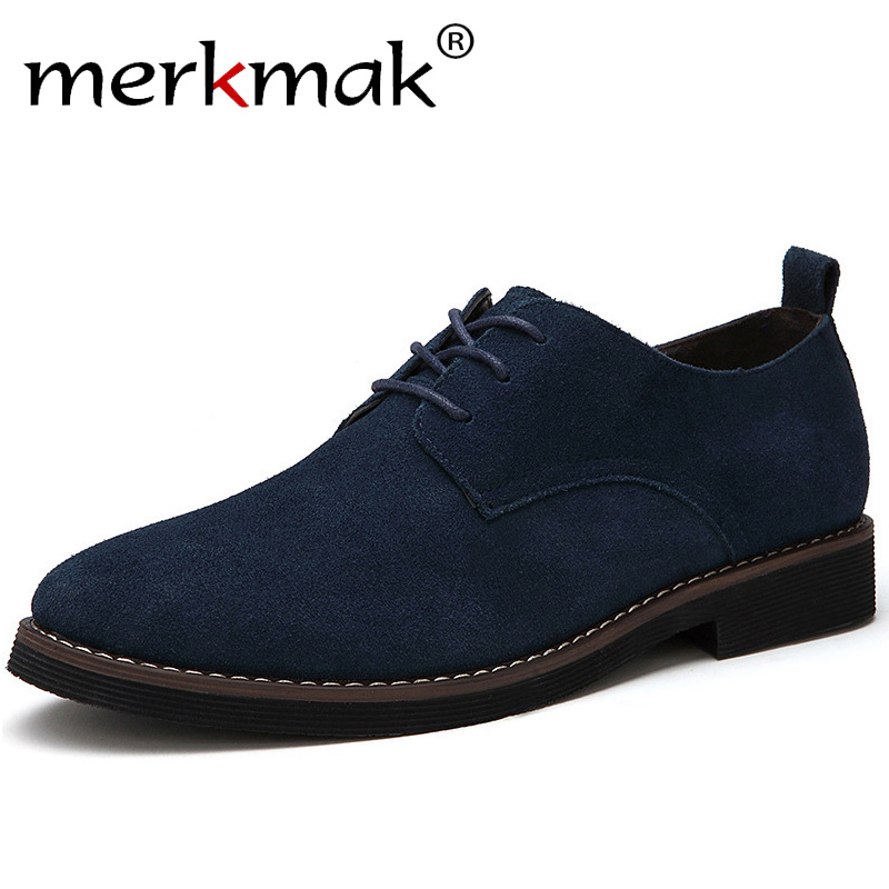 Merkmak Brand Plus Size 48 Men Casual Leather Shoes Oxfords Suede Leather Men's Flats Spring Autumn Fashion  Classic Shoes(China)