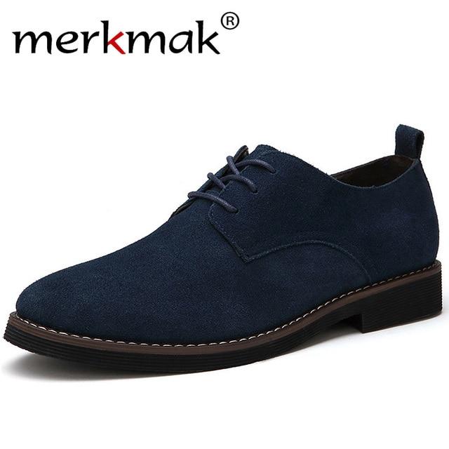 Merkmak/бренд плюс Размеры 48 Мужская повседневная кожаная обувь оксфорды замши Мужская обувь на плоской подошве Демисезонный Роскошные модные...