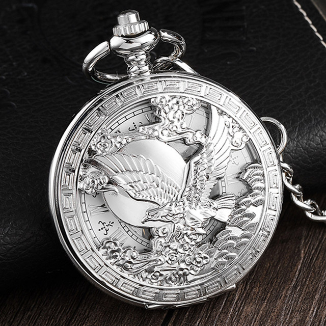 Hollow Flying BaldEagle Mechanical Pocket Watch Silver Roman Numerals Dial Hand Wind Steampunk Necklace Fob Unisex Watch