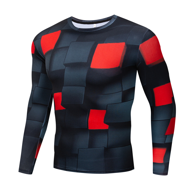 New Men's 3D Fitness Slim T-Shirt Outdoor running fitness sports tops Gyms quick-drying compression shirt Fashion cool t-shirt