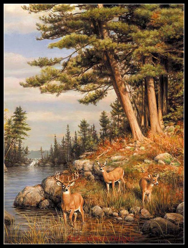 Embroidery Counted Cross Stitch Kits Needlework - Crafts 14 Ct DMC Color DIY Arts Handmade Decor - Deer And Pines