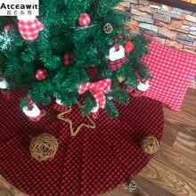 b7f5d7f048 78cm/31 inch flannel plaid fabric Christmas tree skirt red black small plaid  Christmas tree decoration mat Christmas tree apron