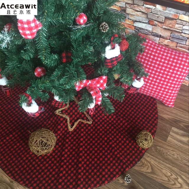 78cm31 inch flannel plaid fabric christmas tree skirt red black small plaid christmas tree