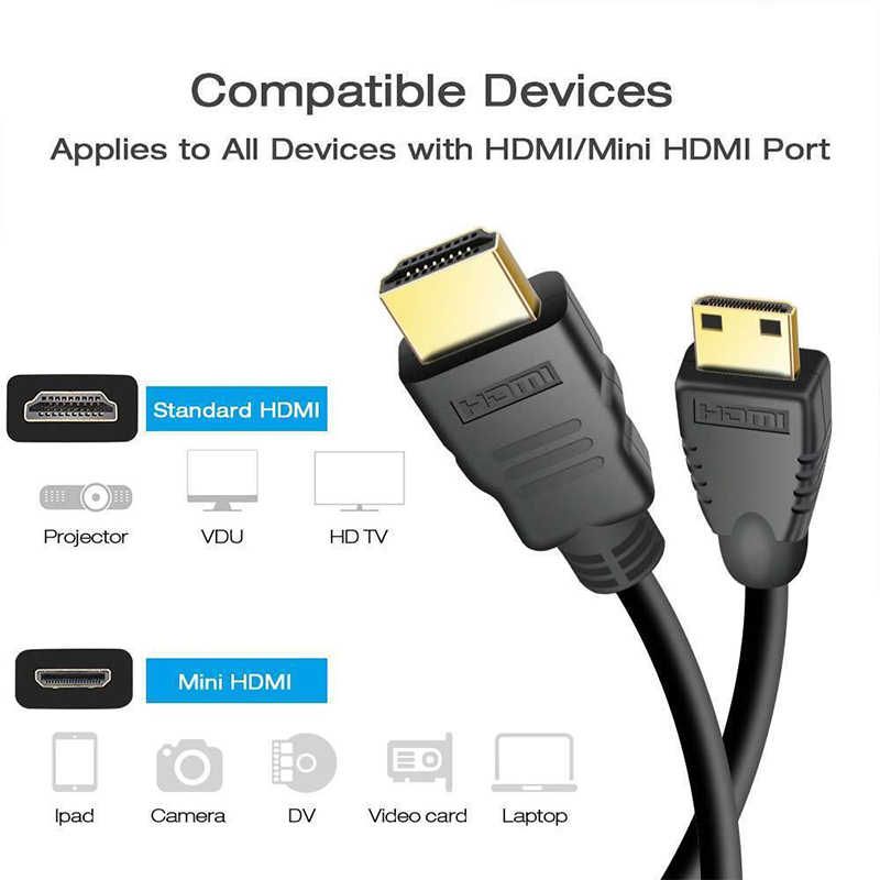 Beesالبرسيم 1 متر HDMI نوع صغير C ذكر إلى معيار كابل موصل ذكر الرصاص كامل HD 1080P 1 متر مطلية بالذهب كابل تلفزيون r29