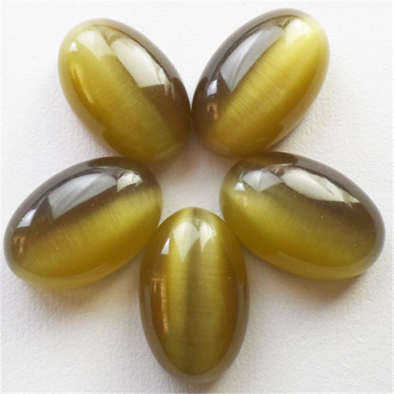 Free shipping!!! 5Pcs Beautiful Lovely Brown Cat Eye stone Oval CAB CABOCHON 30x20x12mm