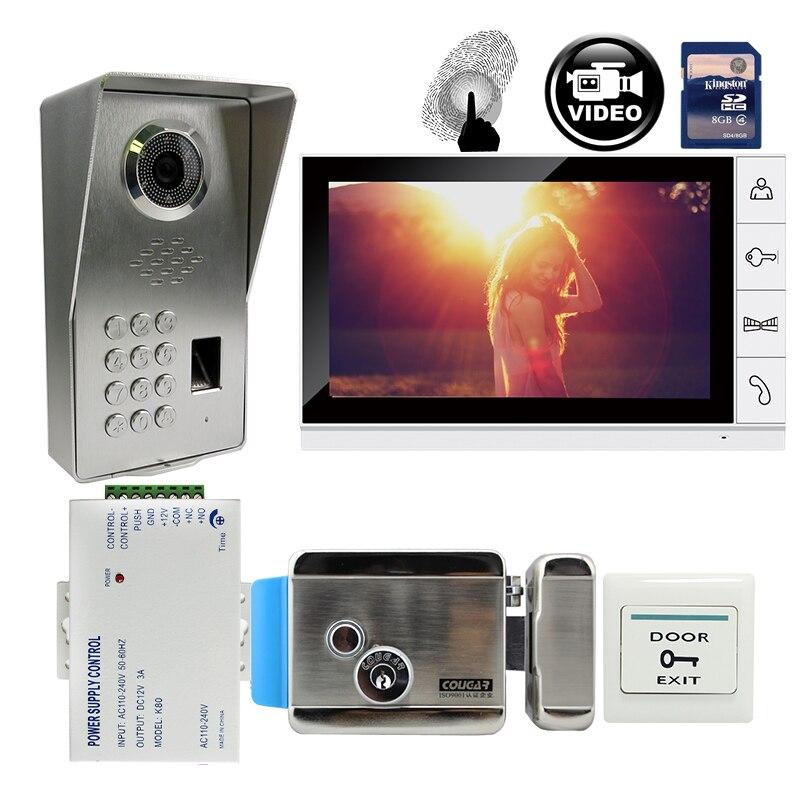 FREE SHIPPING 9 Monitor Record Video Intercom Door Phone System + Waterproof Fingerprint Code Keypad Door Camera Mechanism Lock