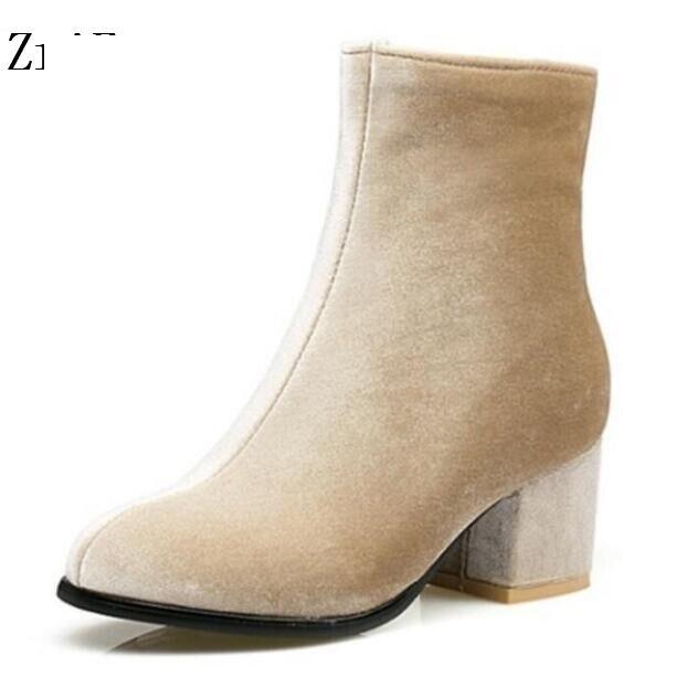 Femmes Mujer Black Chaussure Pompes De Feminino Bottes Cheville apricot D'hiver Sapato Femme Mariage Hauts G61186 Dames Talons Zapatos Chaussures qTw0RPq