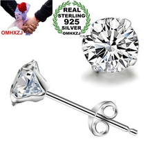 OMHXZJ Wholesale Fashion jewelry Four Claws Contracted Hot Popular Style Zircon AAA Drill 925 Sterling Silver Stud Earrings YS45