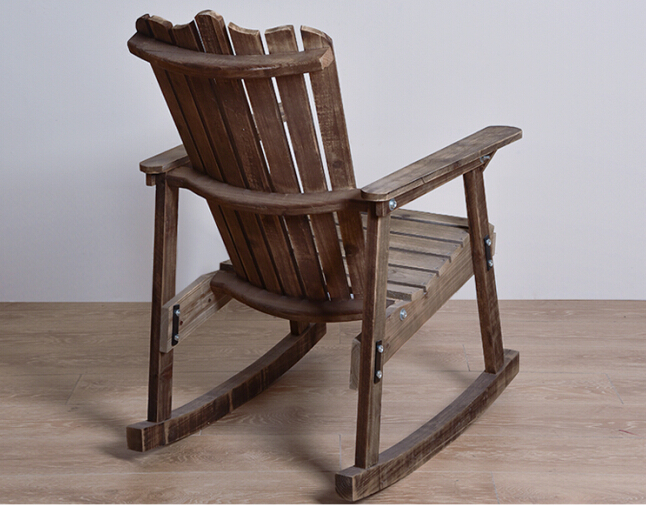 low priced 526e1 60dfa US $141.55 5% OFF|Outdoor Furniture Wooden Rocking Chair Rustic American  Country Style Antique Vintage Adult Large Garden Rocker Armchair Rocker-in  ...
