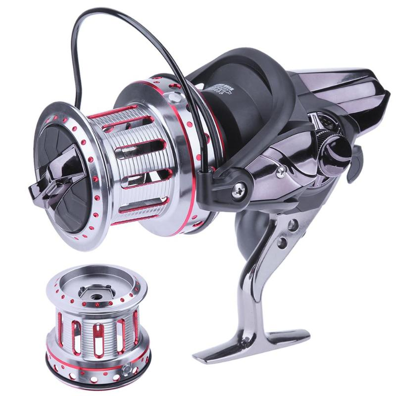 11+1BB 4.7:1 Surf Casting Fishing Reel Long Shot Spinning Reel with a Spare Metal Spool Carp Fishing Tackle abu garcia orra2sx 8 1bb 5 8 1 spinning fishing reel freshwater fishing line wheel bevel rocket spool fishing reel tackle tool