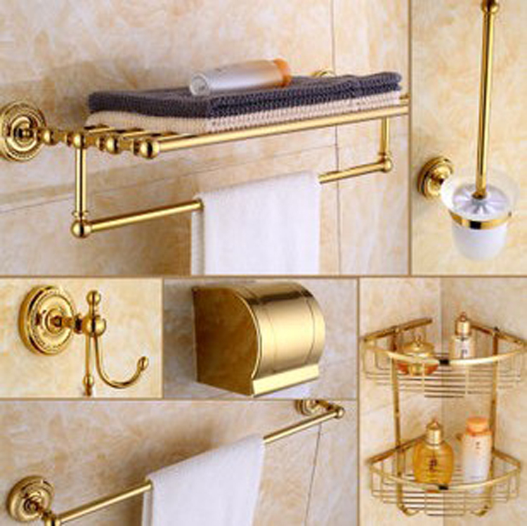 Luxury Golden Brass Bath Hardware Hanger Set Discount Package Towel Bar Rack Paper Holder Shelf Hook Brush Bathroom Accessories