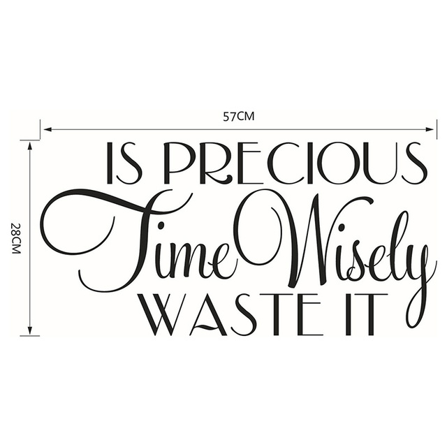 Time is PRECIOUS WASTE IT Wisely Quotes Art decorative Vinyl Wall Stickers for Kids Room