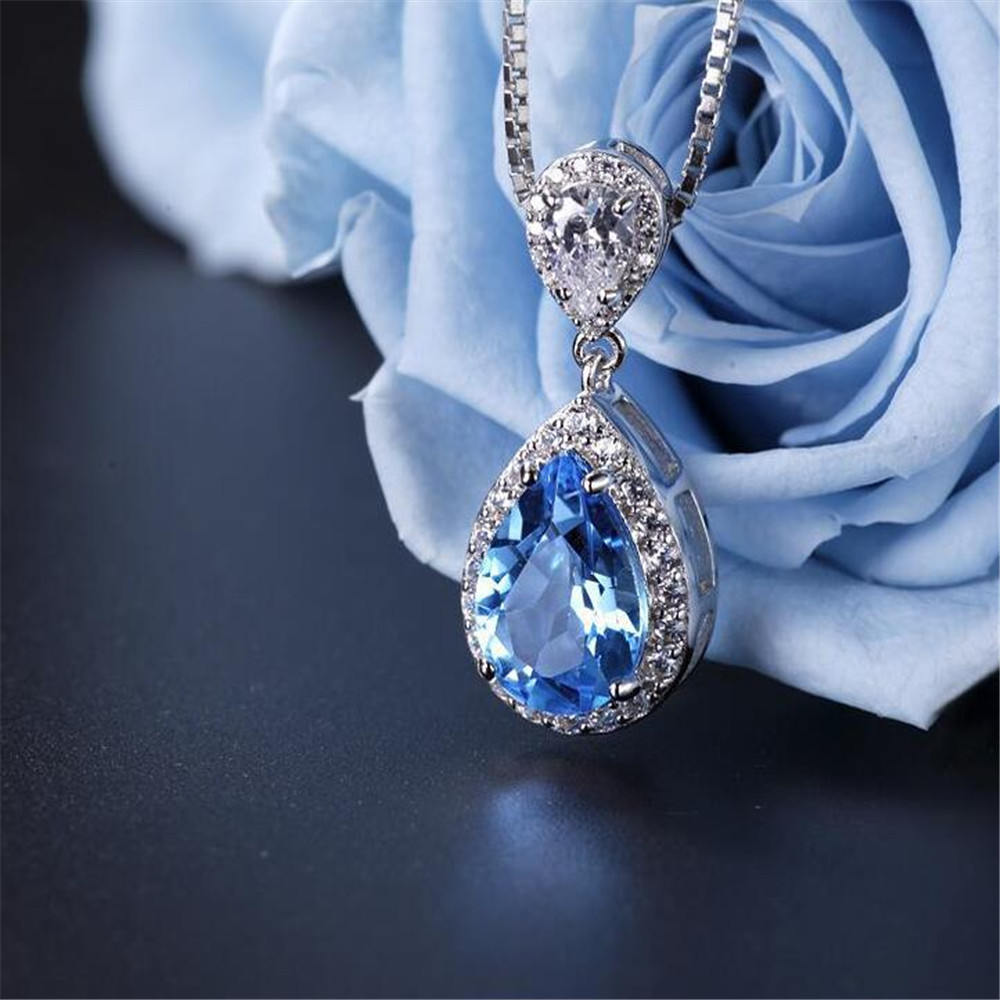 2019 S925 Silver Necklace Blue With Red Diamond Pendant Weddings Fine Jewelry For Women in Pendants from Jewelry Accessories