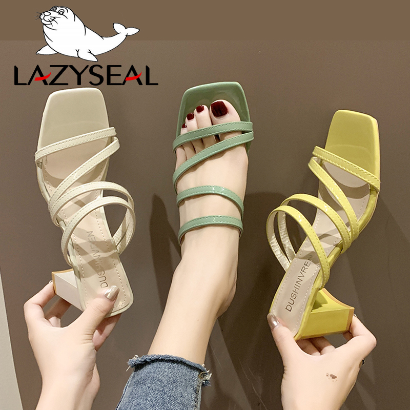 LazySeal Square Heel Slip On Shoes For Women Slippers High Heel Pumps New Summer Beach Ladies Slides Bohemian Female Dress Shoes