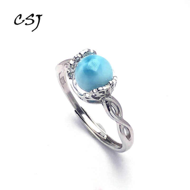 CSJ joyería fina plata de ley 925 natural azul Larimar Round7 ~ 8mm anillos de boda fiesta de compromiso para mujeres señora chica caja de regalo