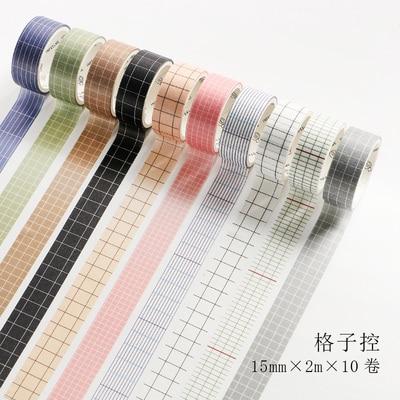 10 Rolls/set Vintage Color Grid Control Square Grid Lattice Style Washi Tape DIY Planner Diary Scrapbooking Masking Tape Escolar