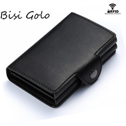 BISI GORO 2019 Card Wallet Case ID Metal Credit Card Holders With RFID Vintage Business 2 Aluminum Wallet for Credit Card
