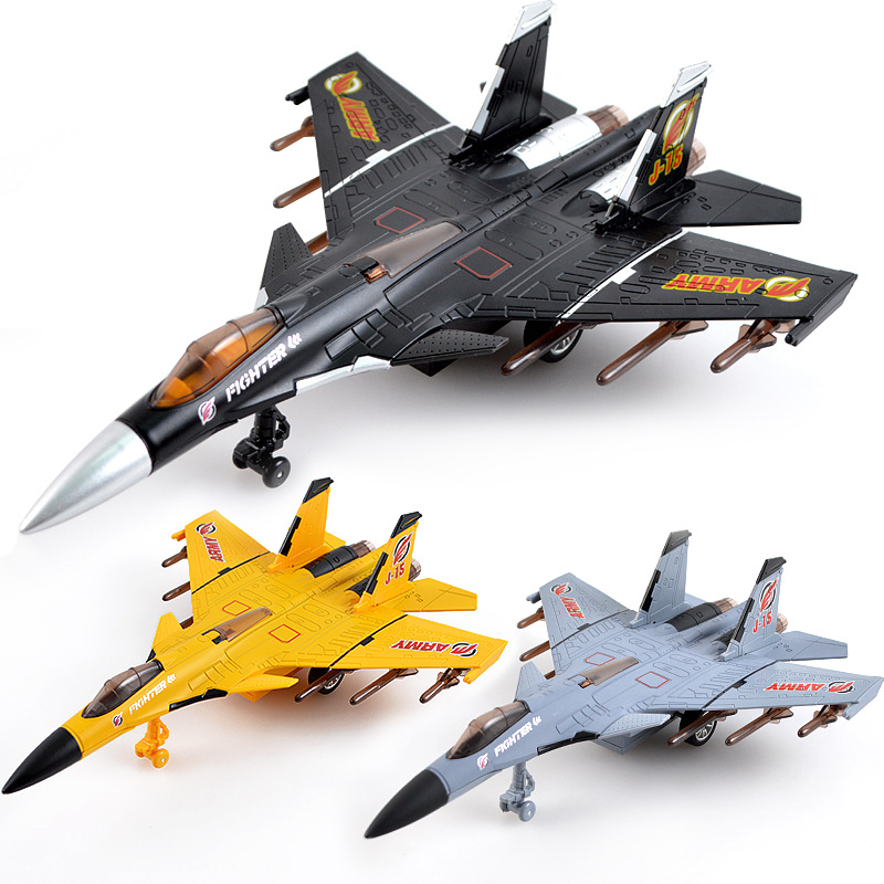 New Simulation Pull Back Die Cast Plane Toys With Sound And Light Military Fighter Aircraft  Metal Model Toys