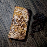 Customization Genuine Leather Wallets Carving Elephant God Purses Men Long Clutch Vegetable Tanned Leather Wallet New Year Gift