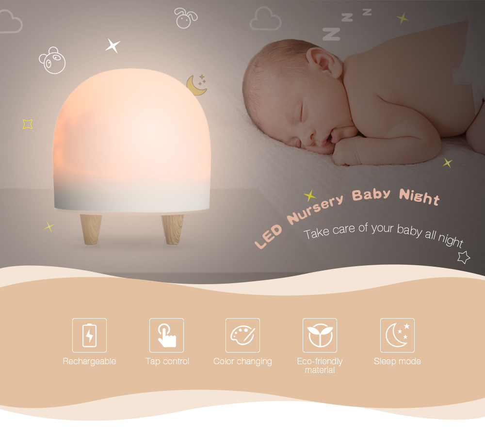 Touch Control Portable Silicone Cute Romantic Dim Mood Lamp Nursery Night Lamp Baby LED Night Light For Kids