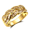 New Fashion Woven Design Women White CZ Engagement Rings Gold Plated Bridal Wedding Jewelry Free Shipping